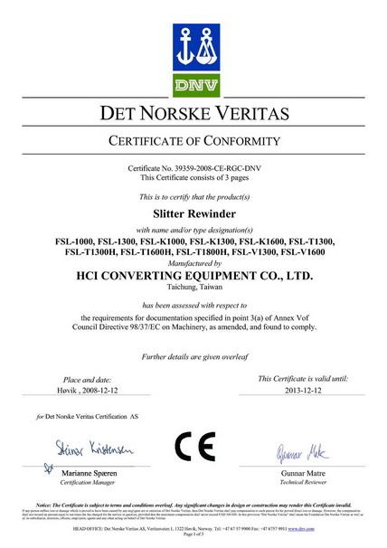 HCI Slitter Rewinder CE